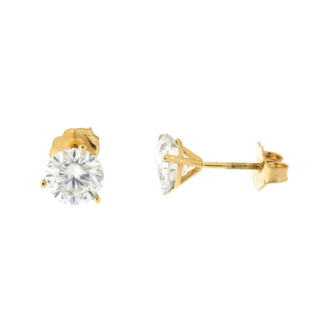 14k Yellow Gold Martini Three-Prong Moissanite Stud Earrings, 2 ct
