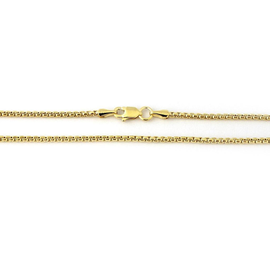 "14k Yellow or White Gold 1.7mm Round Box Chain Necklace, 16"" 18"" 20"" 24"""