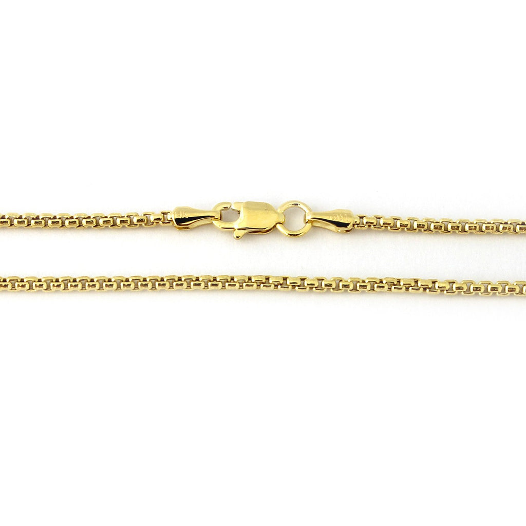 "14k Yellow or White Gold 2.4mm Round Box Chain Necklace, 16"" 18"" 20"" 24"""
