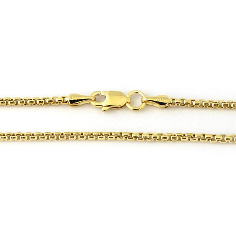 14k Yellow Gold 3.4mm Round Box Chain Necklace, 20""