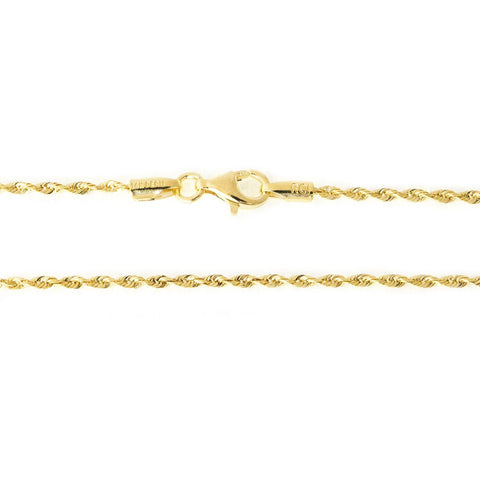 10k Yellow Gold 1.5 mm thick Solid Diamond-Cut Royal Rope Bracelet - 7""