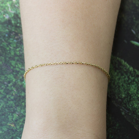 10k Yellow Gold 1.5mm Solid Diamond-Cut Royal Rope Bracelet, 7""