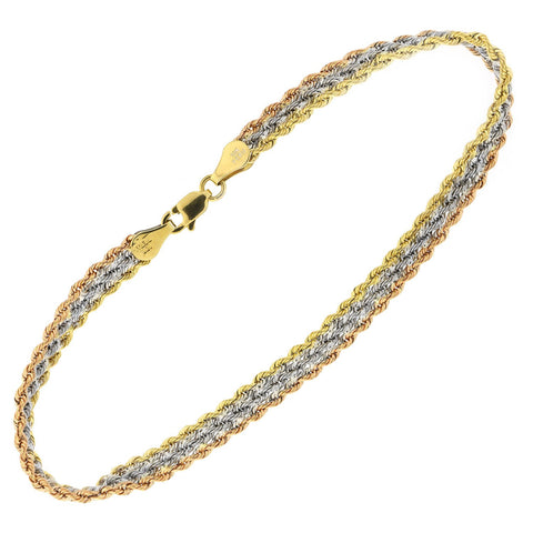 10k Yellow, White and Rose Gold Tri-Color Three Row Rope Chain Bracelet, 7.5""