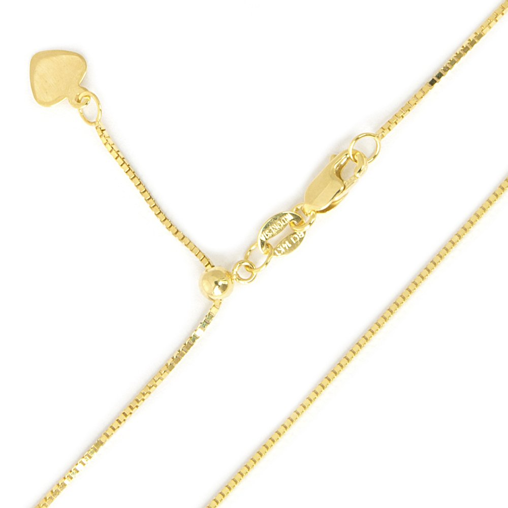 10k Yellow or White Gold 0.7mm Box Chain Necklace, Adjustable up to 22""