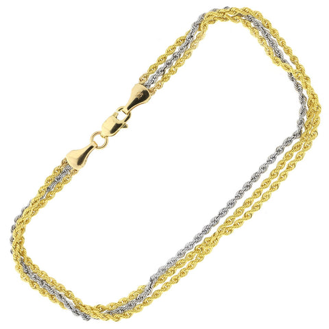 10k Yellow and White Gold Two-Tone Three Row Rope Chain Bracelet, 7.25""