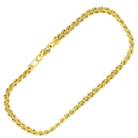 10k Yellow Gold Double Row Rope Chain Bracelet, 7.25""