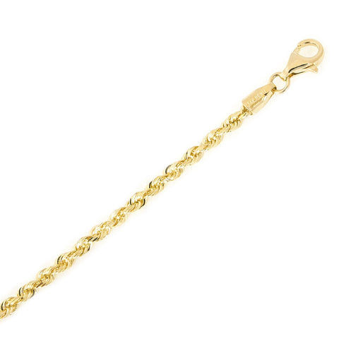 10k Yellow Gold 2.75mm Solid Diamond-Cut Royal Rope Bracelet, 7""