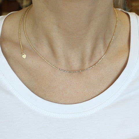 Beauniq 10k Yellow Gold 1.5mm Sparkle Chain Necklace, Adjustable up to 22""