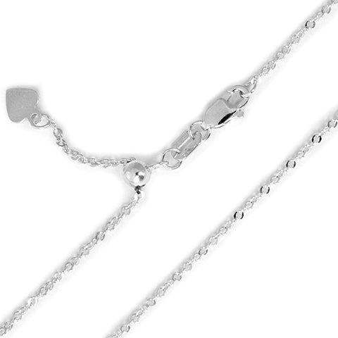 Beauniq 10k White Gold 1.1mm Singapore Chain Necklace, Adjustable up to 22""