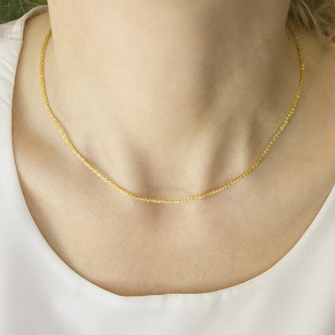 Beauniq 10k Yellow Gold 1.6mm Sparkle Chain Necklace, 16""
