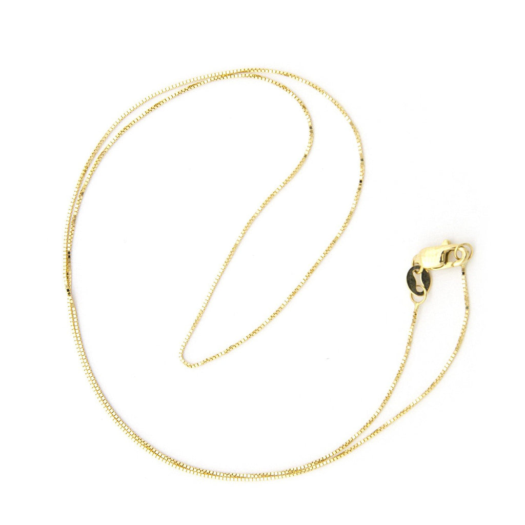 10k Yellow, White or Rose Gold 0.45mm Box Chain Necklace with Lobster Lock, 18""
