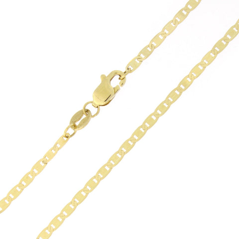 Solid 10k Yellow Gold 1.7mm Mariner Chain Anklet, 10""