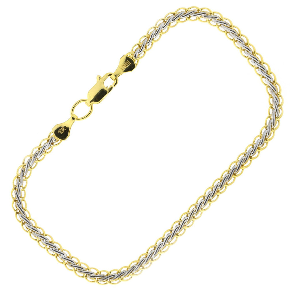10k Yellow and White Gold Two-Tone 3.5mm Woven Bracelet, 7.25""