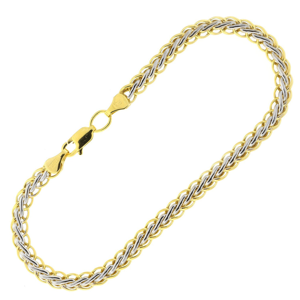 10k Yellow and White Gold Two-Tone 4.4mm Woven Bracelet, 7""