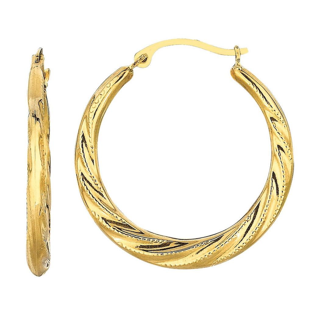 10k Yellow Gold Dotted Swirl Hoop Earrings