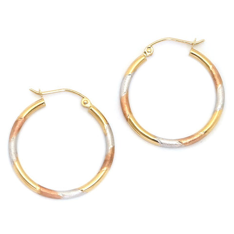 10k Yellow, White and Rose Gold Tri-Color Matte Finish Hoop Earrings