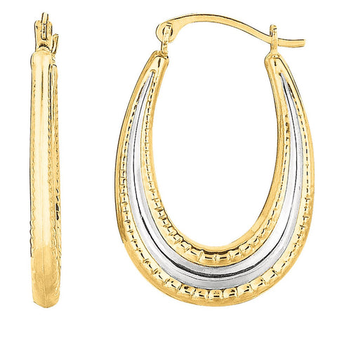 10k Yellow and White Gold Two-Tone Dotted Oval Hoop Earrings