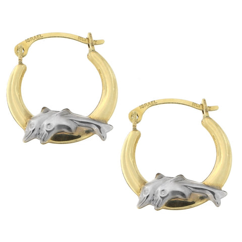 10k Yellow and White Gold Two-Tone Dolphin Hoop Earrings
