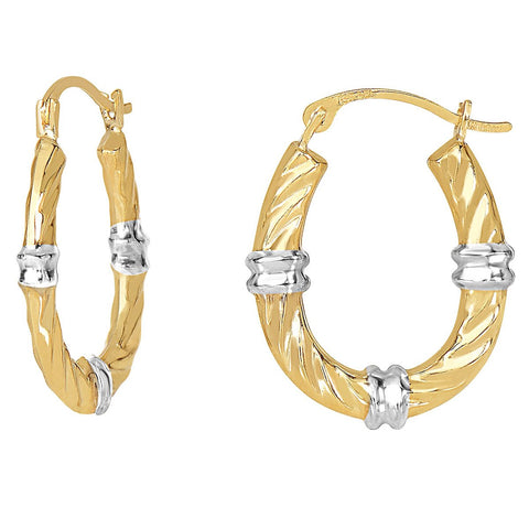 10k Yellow and White Gold Two-Tone Twisted Cable Oval Hoop Earrings