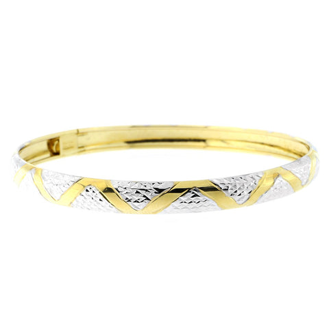 10k Yellow and White Gold Two-Tone 6mm Diamond Cut Zig-Zag Pattern Bangle Bracelet, 7""
