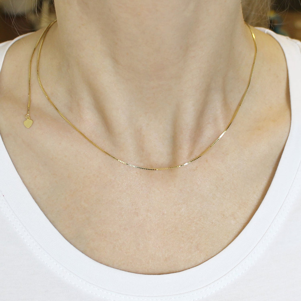 """Details about  /Adjustable 10k Yellow Gold Shiny Box Chain 22/"""" 0.8 mm And 1.0 mm"""