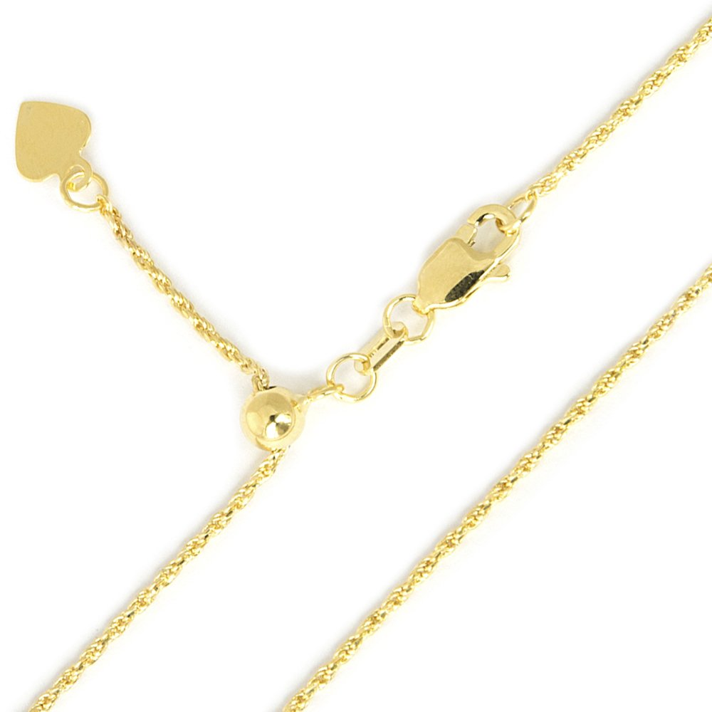 Beauniq 10k Yellow or White Gold 1mm Rope Chain Necklace, Adjustable up to 22""