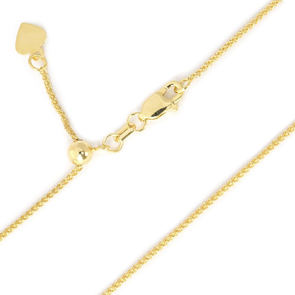 Beauniq 10k Yellow or White Gold 1mm Wheat Chain Necklace, Adjustable up to 22""