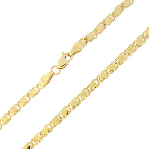 Beauniq 10k Yellow Gold 2.6mm Diamond-Cut Hearts Chain Anklet - 10""