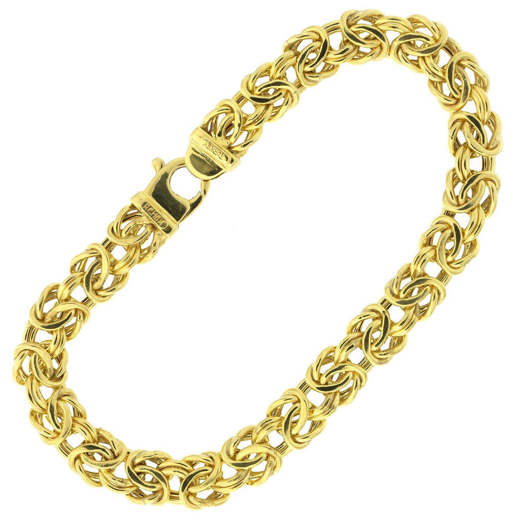 10k Yellow Gold Puffed Byzantine Link Chain Bracelet, 8""