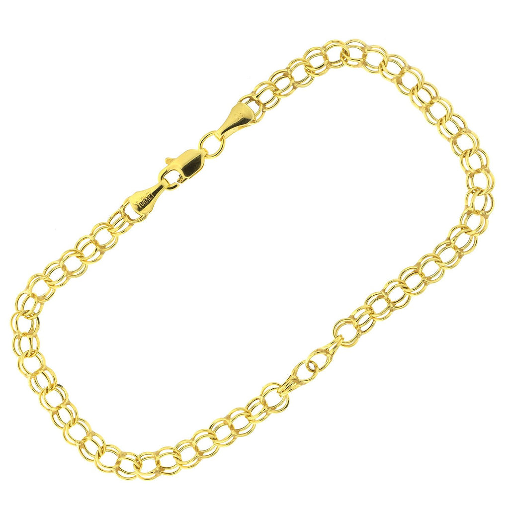 10k Yellow Gold Double Link Chain Bracelet, 7""