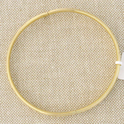 14k Yellow Gold 5mm Matte and Polished Diamond Cut Flower Bangle Bracelet, 7""