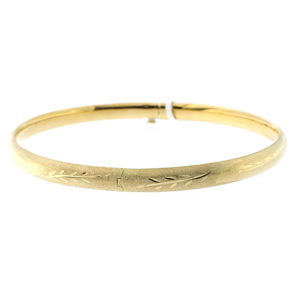 10k Yellow Gold 5mm Matte and Polished Diamond Cut Flower Bangle Bracelet, 7""