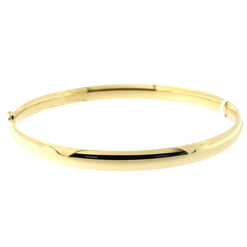 10k Yellow Gold 5mm Polished Bangle Bracelet, 7""