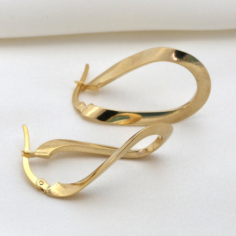 10k Yellow Gold Curved Hoop Earrings