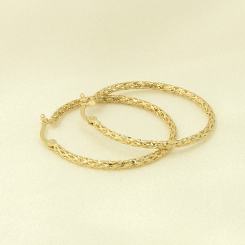 10k Yellow Gold Mesh Hoop Earrings