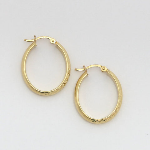 10k Yellow Gold Diamond Cut Oval Hoop Earrings