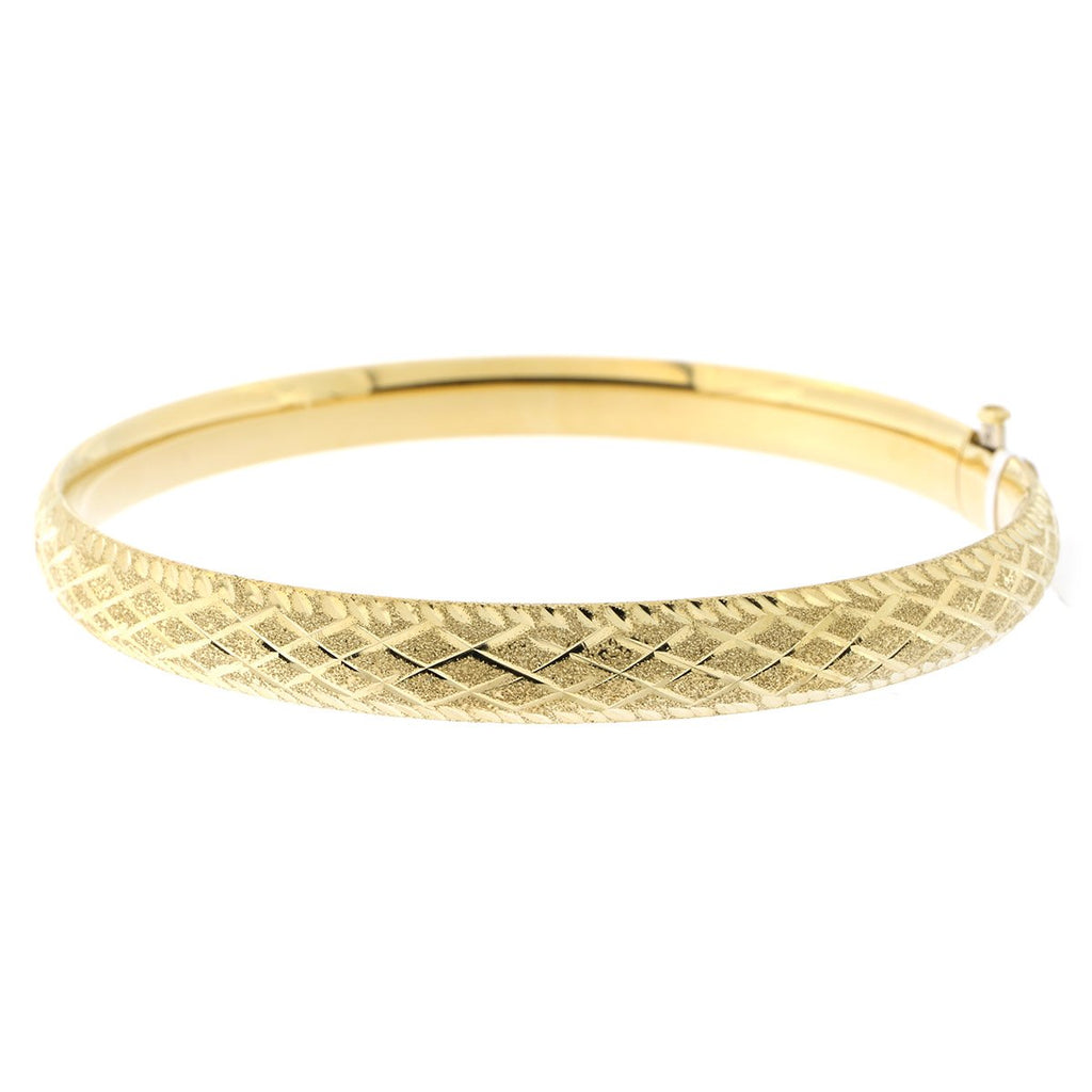 14k Yellow or White Gold 6mm Matte and Polished Diamond Cut Bangle Bracelet, 7""