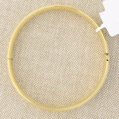 14k Yellow Gold 8mm Matte and Polished Diamond Cut Flower Bangle Bracelet, 7""