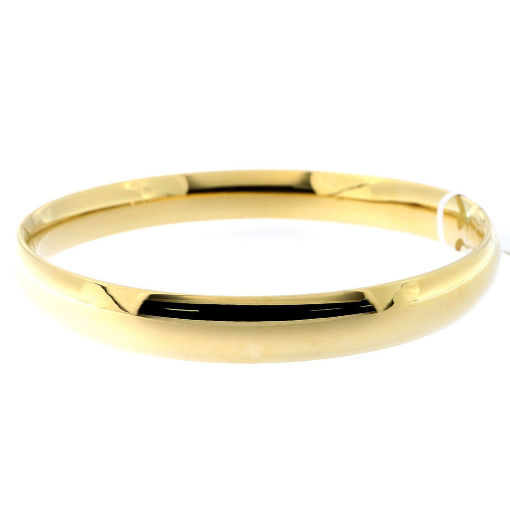 14k Yellow Gold 8mm Polished Bangle Bracelet, 7""