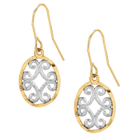 10k Yellow and White Gold Two-Tone Open Filigree Dangle Earrings