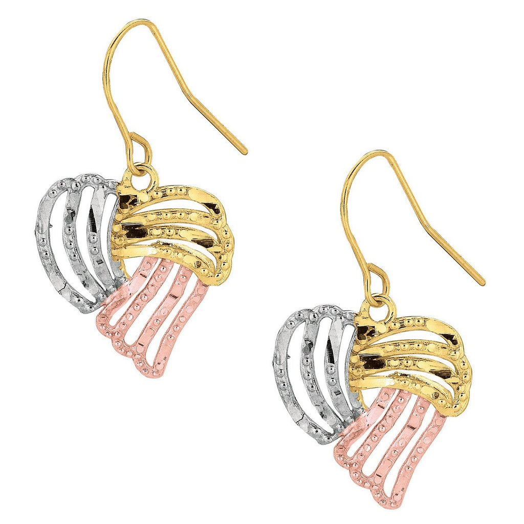 10k Yellow, White and Rose Gold Tri-Color Open Heart Dangle Earrings