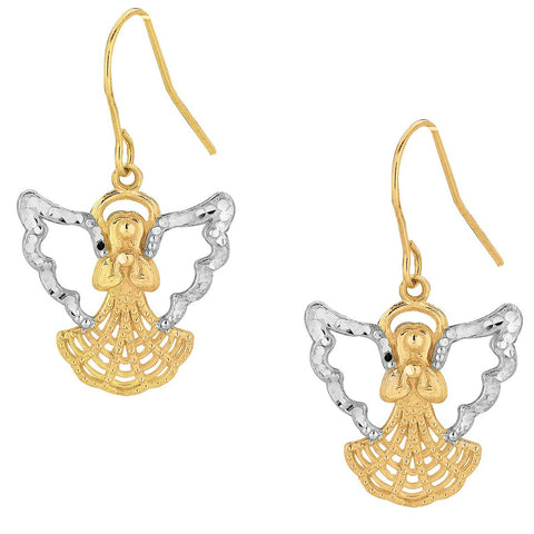 10k Yellow and White Gold Two-Tone Angel Dangle Earrings
