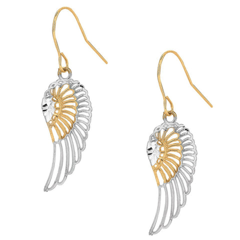 10k Yellow and White Gold Two-Tone Angel Wings Dangle Earrings