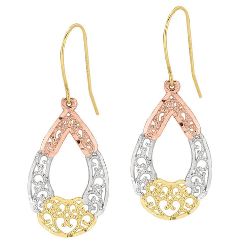 10k Yellow, White and Rose Gold Tri-Color Filigree Teardrop Dangle Earrings
