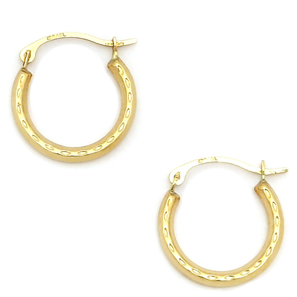10k Yellow or White Gold Dimpled Hoop Earrings