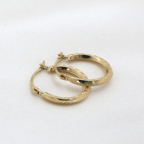 10k Yellow Gold Dimpled Hoop Earrings