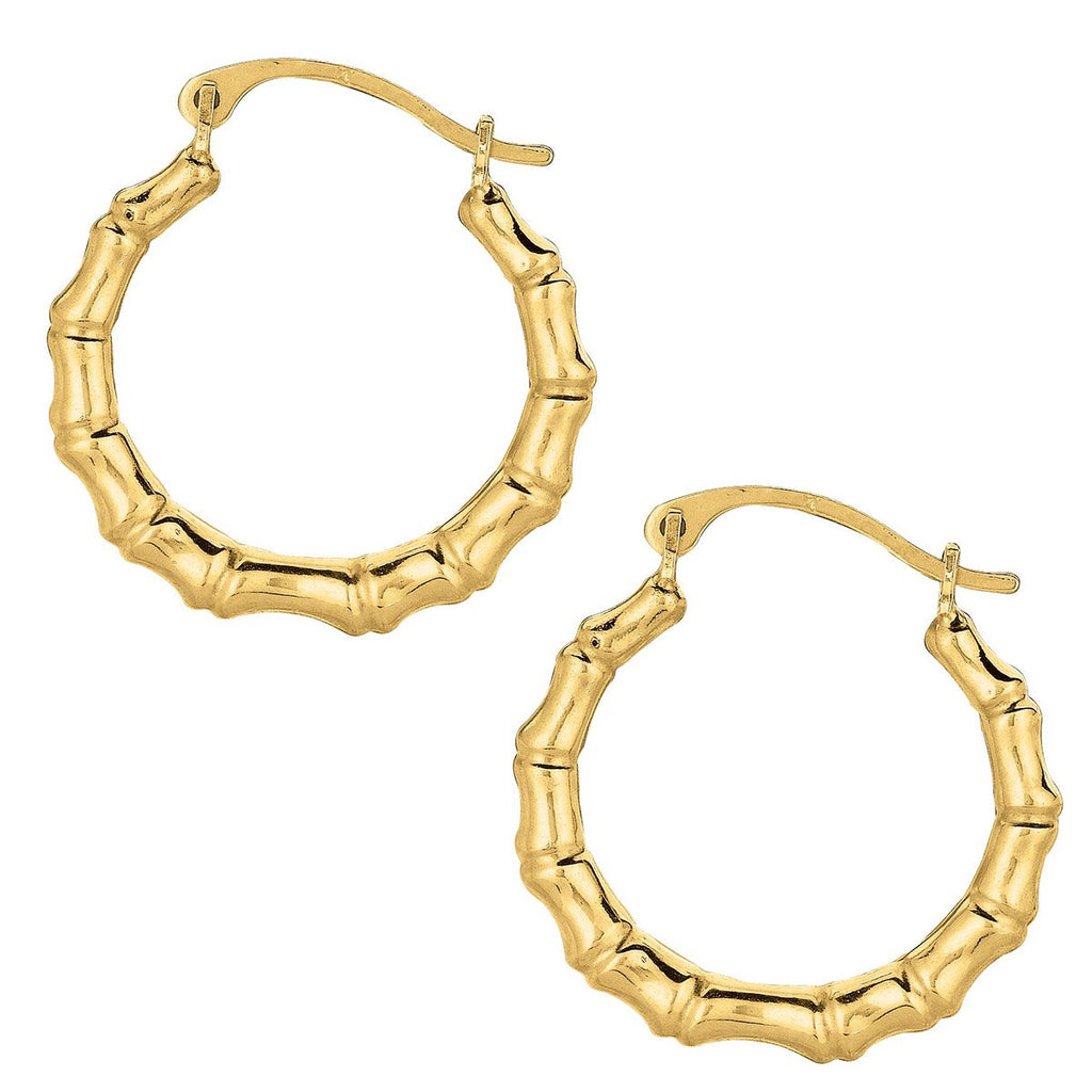 10k Yellow Gold Bamboo Hoop Earrings