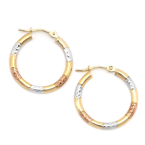 10k Yellow, White and Rose Gold Tri-Color Diamond Cut Hoop Earrings
