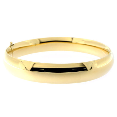 14k Yellow Gold 10mm Polished Bangle Bracelet, 7""