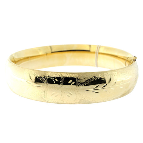 14k Yellow Gold 13mm Matte and Polished Diamond Cut Flower Bangle Bracelet, 7""